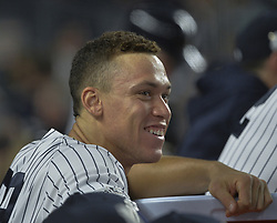 October 18, 2017 - Bronx, NY, USA - New York Yankees right fielder Aaron Judge smiling in the dugout during a 5-0 win against the Houston Astros in Game 5 of the American League Championship Series at Yankee Stadium in New York on Wednesday, Oct. 18, 2017. The Yankees lead the series, 3-2. (Credit Image: © Howard Simmons/TNS via ZUMA Wire)
