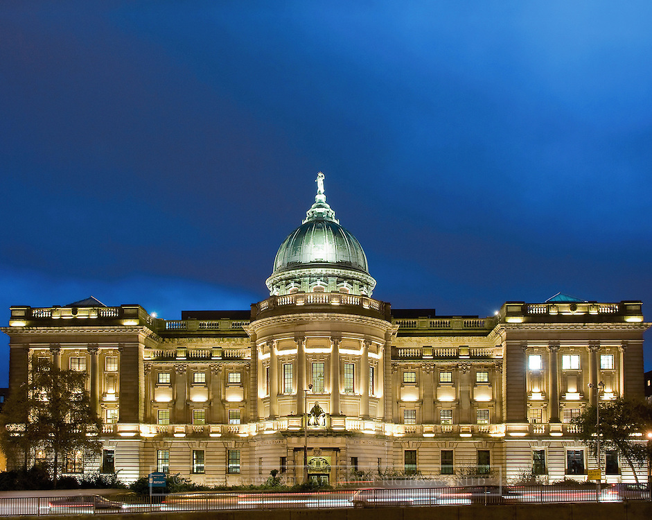 Colour photograph of The Mitchell Library in Glasgow at Dusk. Mounted print available to purchase.