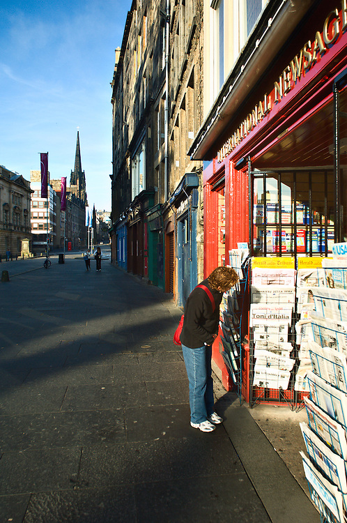 News shop, Sunday morning, Royal Mile, Edinburgh, Scotland