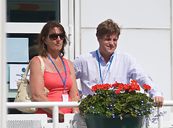 NOTTINGHAM, ENGLAND - Saturday, June 13, 2009: Laura Robson's mother Kathy watches her daughter with Tournament Director Anders Borg on day three of the Tradition Nottingham Masters tennis event at the Nottingham Tennis Centre. (Pic by David Rawcliffe/Propaganda)