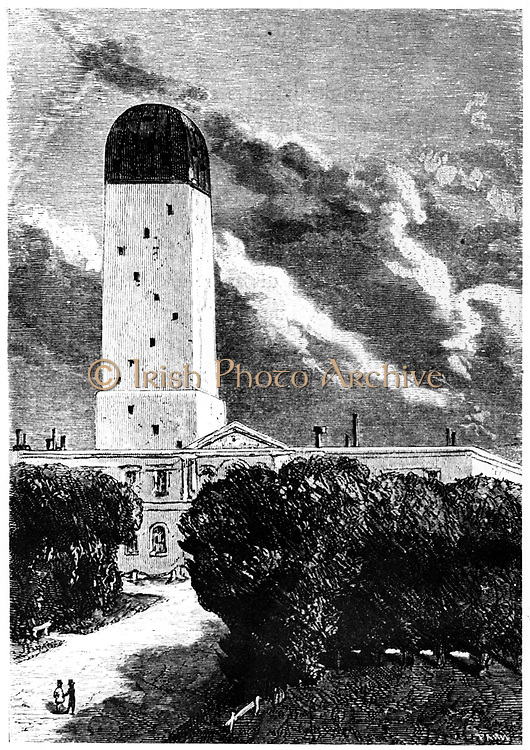 Astronomical observatory at Cambridge, Massachusetts. The Director of the observatory observed the launch of the space craft 'Columbiad' from the observatory's reflecting telescope situated on the Rocky Mountains. From Jules Verne 'De la Terre a la Lune', Paris, 1865. Wood engraving.
