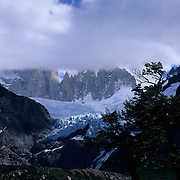 Piedras Blance Glacier just below the clouds in clouds in Parque Nacional las Glaciares, Patagonia, Argentina.