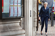UNITED KINGDOM, London: 3 May 2018 British Prime Minister Theresa May arrives at the polling station of the Methodist Central Hall in Westminster this morning before casting her vote for the local elections in 150 local authorities. Rick Findler / Story Picture Agency