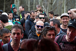 Spectators line the course during Saturday's practice at the 2015 UCI Mountainbike World Cup downhill at Lourdes.