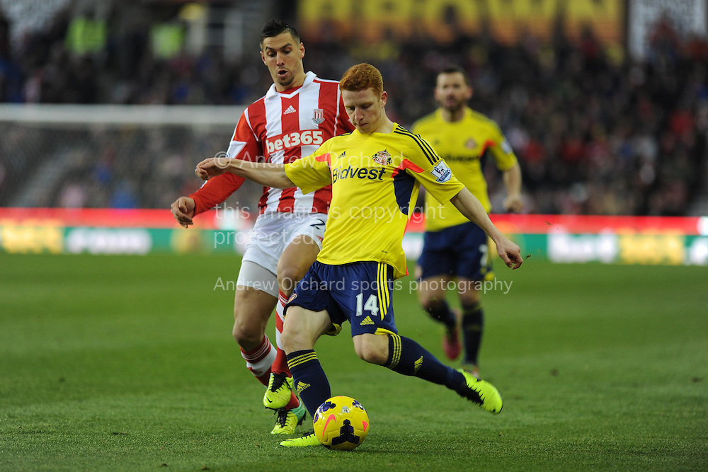 Sunderland's Jack Colback in action. Barclays Premier league, Stoke city v Sunderland at the Britannia stadium in Stoke on Trent, England on Saturday 23rd Nov 2013. pic by Andrew Orchard, Andrew Orchard sports photography,