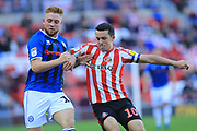 Callum Camps and George Honeyman during the EFL Sky Bet League 1 match between Sunderland and Rochdale at the Stadium Of Light, Sunderland, England on 22 September 2018.