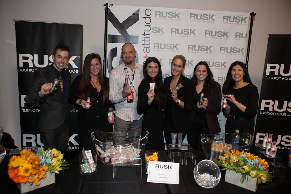 RUSK Sponsor Booth at Nolcha Fashion Week New York Fall-Winter 2014. Nolcha Fashion Week New York is a leading award winning event, held during New York Fashion Week, for independent fashion designers to showcase their collections to a global audience of press, retailers, stylists and industry influencers. Over the past six years Nolcha Fashion Week: New York has established itself as a platform of discovery promoting innovative fashion designers through runway shows and exhibition. Nolcha Fashion Week: New York has built an acclaimed reputation as a hot incubator of new fashion design talent and is officially listed by New York City Economic Development Corporation; offering a range of cost effective options to increase designers recognition and develop their business. (Photo: www.JeffreyHolmes.com)