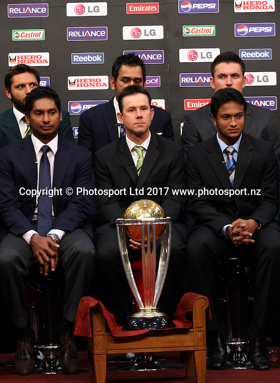 Respective cricket captains for their national teams (L to R front row) Netherlands' Peter Borren, Sri Lanka's Kumara Sanngakara, Australia's Ricky Ponting, Bangladesh's Sakib ul-Hasan, Kenya's Jimmy Kamande, (L To R back row) New Zealand's Daniel Vettori, Pakistan's Shahid Afridi, India's Mahendra Singh Dhoni, South Africa's Graeme Smith, and England's Andrew Strauss pose during a photo shoot with trophy with all the captains at Dhaka Shereton hotel in Dhaka on February 17, 2011. Photo: www.photosport.co.nz