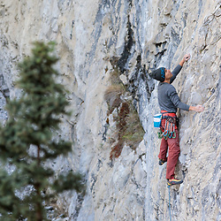 Jonathan Siegrist climbing Magician's Apprentice, 5.14a/b at Planet X in Cougar Canyon, Canmore, AB