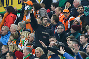 Northern Ireland fans in good voice during the UEFA European 2020 Qualifier match between Northern Ireland and Netherlands at National Football Stadium, Windsor Park, Northern Ireland on 16 November 2019.