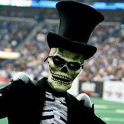 March 9, 2007; New Orleans, LA, USA; The New Orleans VooDoo mascot Bones is seen on the field during a New Orleans VooDoo game at the New Orleans Arena. The New Orleans VooDoo franchise which ceased operations in 2008 has been relaunched as an expansion team in the Arena Football League that will begin play in the 2011 season.  Mandatory Credit: Derick E. Hingle