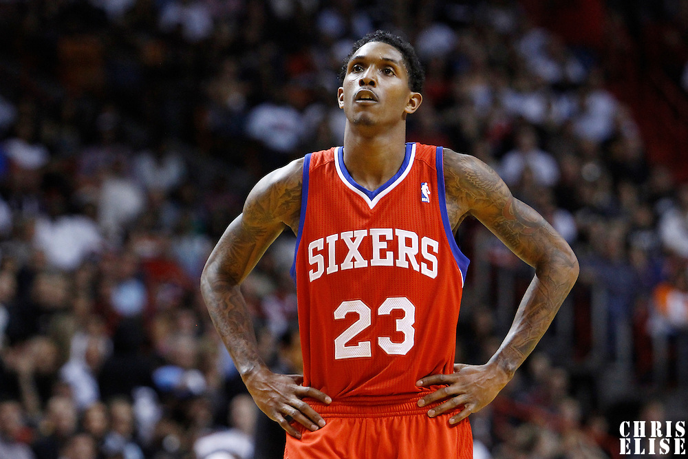 21 January 2012: Philadelphia Sixers point guard Lou Williams (23) rests during the Miami Heat 113-92 victory over the Philadelphia Sixers at the AmericanAirlines Arena, Miami, Florida, USA.