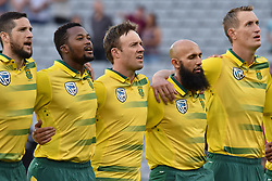 February 17, 2017 - Auckland, New Zealand - South Africa national anthem during international Twenty20 cricket match between South Africa and New Zealand in Auckland, New Zealand on Feb 17. (Credit Image: © Shirley Kwok/Pacific Press via ZUMA Wire)
