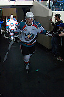 KELOWNA, CANADA - FEBRUARY 2: Cole Martin #8 of the Kelowna Rockets heads to the ice against the Vancouver Giants at the Kelowna Rockets on February 2, 2013 at Prospera Place in Kelowna, British Columbia, Canada (Photo by Marissa Baecker/Shoot the Breeze) *** Local Caption ***