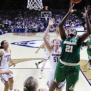 STORRS, CONNECTICUT- NOVEMBER 17: Kalani Brown #21 of the Baylor Bears rebounds ahead of Natalie Butler #51 of the UConn Huskies during the UConn Huskies Vs Baylor Bears NCAA Women's Basketball game at Gampel Pavilion, on November 17th, 2016 in Storrs, Connecticut. (Photo by Tim Clayton/Corbis via Getty Images)