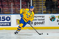 KELOWNA, BC - DECEMBER 18: Hugo Leufvenius #14 of Team Sweden warms up with the puck against the Team Russia at Prospera Place on December 18, 2018 in Kelowna, Canada. (Photo by Marissa Baecker/Getty Images)***Local Caption***