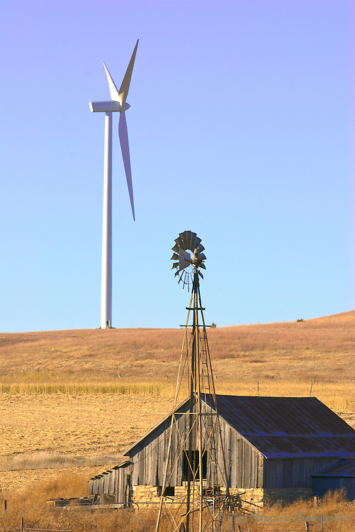 old and new wind turbines