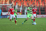 Forest Green Rovers Charlie Clough(5) plays a pass during the Vanarama National League match between Wrexham FC and Forest Green Rovers at the Racecourse Ground, Wrexham, United Kingdom on 26 November 2016. Photo by Shane Healey.