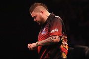 Michael Smith, 2013 World Youth Champion. Second Premier League season during the Unibet Premier League Darts Night 13 competition at the Manchester Arena, Manchester, United Kingdom on 26 April 2018. Picture by Mark Pollitt.