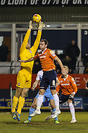 Andy Drury of Luton Town (right) challenges Robert Olejnik of York City (left) during the Sky Bet League 2 match at Kenilworth Road, Luton<br /> Picture by David Horn/Focus Images Ltd +44 7545 970036<br /> 10/02/2015