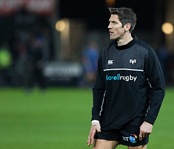 Ospreys' James Hook during the pre match warm up<br /> <br /> Photographer Simon King/Replay Images<br /> <br /> Anglo-Welsh Cup Round 4 - Ospreys v Bath Rugby - Friday 2nd February 2018 - Liberty Stadium - Swansea<br /> <br /> World Copyright © Replay Images . All rights reserved. info@replayimages.co.uk - http://replayimages.co.uk