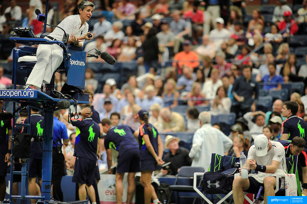 2016 U.S. Open - Day 10  Andy Murray of Great Britain argues with umpire Marija Cicak after a sound system malfunction during his match against Kei Nishikori of Japan in the Men's Singles Quarterfinal match on Arthur Ashe Stadium on day ten of the 2016 US Open Tennis Tournament at the USTA Billie Jean King National Tennis Center on September 7, 2016 in Flushing, Queens, New York City.  (Photo by Tim Clayton/Corbis via Getty Images)