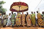King Cephas Bansah and Queen Gabriele Bansah along with Dr. Susi Dattenberg-Doyle (Queen Mother od Gbi Kpoeta Ghana) with Ewefiaga Togbui Agboli K.F. Agokoli IV (King of the Ewe) walk the streets of Notse to attend the ceremony<br /> <br /> Day 2 of the Agbogboza Festival in Notse, Togo on September 2nd, 2016<br /> <br /> ***Togbe Ngoryifia Cephas Kosi Bansah of Gbi Traditional Area Hohoe Ghana and Traditional, Spiritual and Honorable King of the Ewes and his wife, Queen Mother Gabriele Akosua Bansah Ahado Hohoe Ghana***