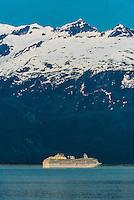 Princess Cruises ship Coral Princess sailing the Lynn Canal, the deeprest fjord in North America,  between Haines and Skagway, Alaska USA.