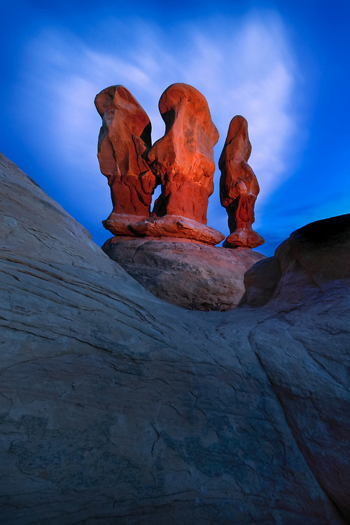 Sandstone hoodoos at twilight, Grand Staircase-Escalante National Monument, Utah.