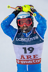 11.02.2019, Aare, SWE, FIS Weltmeisterschaften Ski Alpin, alpine Kombination, Herren, Slalom, im Bild Riccardo Tonetti (ITA) // Riccardo Tonetti of Italy reacts after the Slalom competition of the men's alpine combination for the FIS Ski World Championships 2019. Aare, Sweden on 2019/02/11. EXPA Pictures © 2019, PhotoCredit: EXPA/ Dominik Angerer