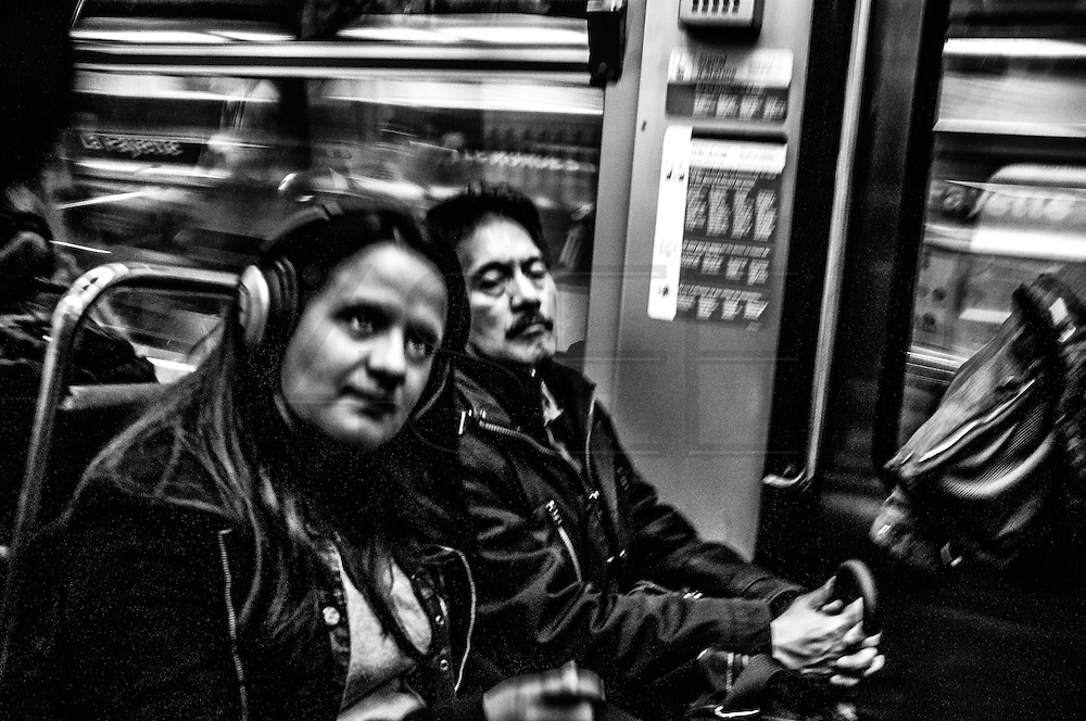 March 2015. Paris, people on the subway.