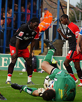 Photo: Olly Greenwood.<br />Colchester United v Southampton. Coca Cola Championship. 28/10/2006. Southampton's John Viafara see's his header saved by Colchester's Aidan Davison