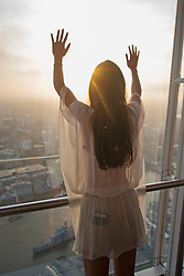 Charlotte Rose celebrates the Summer Solstice at the View from the Shard - London's highest viewing platform at the top of The Shard, which is Western Europe's tallest building.