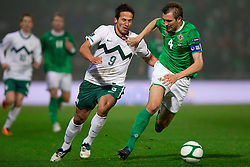 Zlatan Ljubijankic of Slovenia vs Gareth McAuley of Northern Ireland during EURO 2012 Quaifications game between National teams of Slovenia and Northern Ireland, on March 29, 2011, in Windsor Park Stadium, Belfast, Northern Ireland, United Kingdom. (Photo by Vid Ponikvar / Sportida)