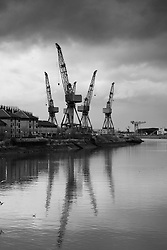 View of BAE Systems shipbuilding yard on River Clyde at Govan in Glasgow united kingdom