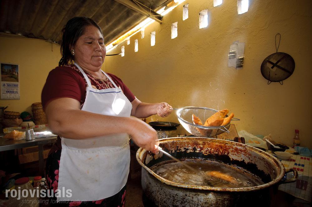Se&ntilde;ora preparando chivichangas de osti&oacute;n, una especialidad gastron&oacute;mica de Boca de Camich&iacute;n creada por los ostricultores para dinamizar el mercado del osti&oacute;n en la zona.<br /> Reserva de la Biosfera Marismas Nacionales Nayarit<br /> Nayarit, Mexico