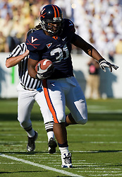 Virginia FB Rashawn Jackson (31) brings in a catch along the sidelines against GT.  The Virginia Cavaliers defeated the #18 ranked Georgia Tech Yellow Jackets 24-17 in NCAA Division 1 Football at Bobby Dodd Stadium on the campus of Georgia Tech in Atlanta, GA on October 25, 2008.