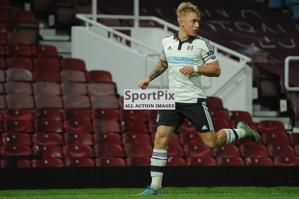Fulhams Dean O'Halloran celebrates his goal which puts his side 2-0 up  during the West Ham u21 v Fulham u21 match in the Barclays U21 Premier League Division 2 on 26th October 2015.