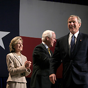 Pres. Bush attends a Bush/Cheney 2004 fundraiser Monday, March 8, 2004, in Dallas, TX.  Also in attendance are Texas Gov. Rick Perry, Sen. Kay Bailey Hutchinson, and Sen. John Cornyn...Photo by Khue Bui