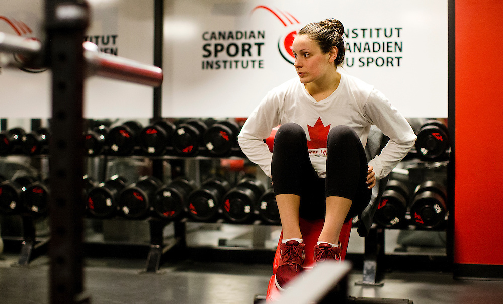 Danica Ludlow of the Canadian National Swim team during a training session at Commonwealth Pool on November 23, 2015 in Victoria, British Columbia Canada.