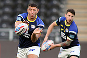 Leeds Rhinos winger Ryan Hall (5) warming up before the Betfred Super League match between Hull FC and Leeds Rhinos at Kingston Communications Stadium, Hull, United Kingdom on 19 April 2018. Picture by Mick Atkins.