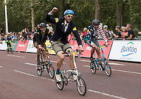 LONDON UK 30TH JULY 2016:  Mr Mark Emsley wins the Brompton World Championship. The Prudential RideLondon FreeCycle event over closed roads around the city. Prudential RideLondon in London 30th July 2016.<br /> <br /> Photo: Eddie Keogh/Silverhub for Prudential RideLondon<br /> <br /> Prudential RideLondon is the world's greatest festival of cycling, involving 95,000+ cyclists – from Olympic champions to a free family fun ride - riding in events over closed roads in London and Surrey over the weekend of 29th to 31st July 2016. <br /> <br /> See www.PrudentialRideLondon.co.uk for more.<br /> <br /> For further information: media@londonmarathonevents.co.uk