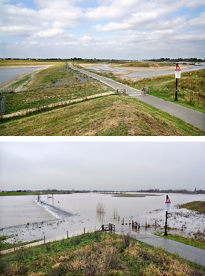 Nederland, Nijmegen, 19-8-2018Impressie van het verschil tussen hoogwater begin dit jaar en de lage waterstand nu.  Boven is van 19 augustus, onder van 19 december.Het verschil is ruim 7 meterDoor de lage waterstand in de Waal is de aanvoer van water voor de Nevengeul, spiegelwaal, drooggevallen. De inlaten in de drempel liggen ver boven het water .Hierdoor stroomt de spiegelwaal niet meer door en is er blauwalg ontstaan zodat het een risico is erin te zwemmen .Foto: Flip Franssen