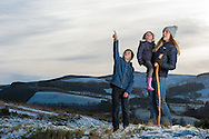 Family walking at Glentress, Tweed Valley, Forestry Commission, Scotland
