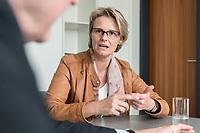 12 APR 2019, BERLIN/GERMANY:<br /> Anja Karliczek, CDU, Bundesministerin fuer Forschung und Bildung, waehrend einem Interview, in ihrem Buero, Bundesministerium fuer Forschung un Bildung<br /> IMAGE: 20190412-01-015<br /> KEYWORDS: Büro