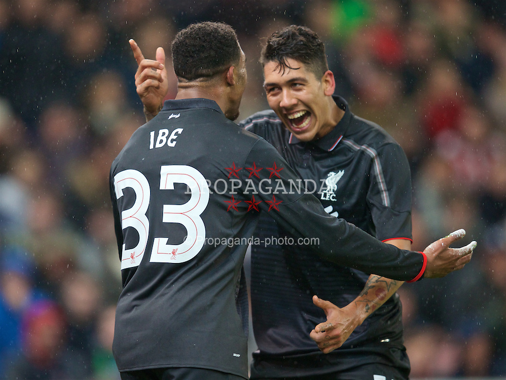 STOKE-ON-TRENT, ENGLAND - Tuesday, January 5, 2016: Liverpool's Jordon Ibe celebrates scoring the first goal against Stoke City with team-mate Roberto Firmino during the Football League Cup Semi-Final 1st Leg match at the Britannia Stadium. (Pic by David Rawcliffe/Propaganda)