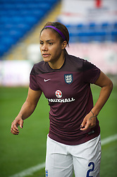 CARDIFF, WALES - Tuesday, August 21, 2014: England's Alex Scott warms-up before the FIFA Women's World Cup Canada 2015 Qualifying Group 6 match against Wales at the Cardiff City Stadium. (Pic by Ian Cook/Propaganda)