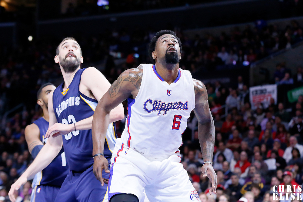23 February 2015: Los Angeles Clippers center DeAndre Jordan (6) vies for the rebound with Memphis Grizzlies center Marc Gasol (33) during the Memphis Grizzlies 90-87 victory over the Los Angeles Clippers, at the Staples Center, Los Angeles, California, USA.