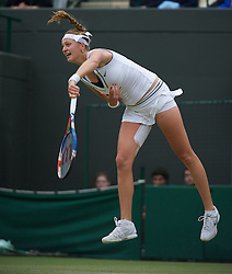 LONDON, ENGLAND - Tuesday, June 28, 2011: Petra Kvitova (CZE) in action during the Ladies' Singles Quarter-Final match on day eight of the Wimbledon Lawn Tennis Championships at the All England Lawn Tennis and Croquet Club. (Pic by David Rawcliffe/Propaganda)