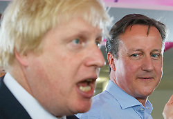 **FILE PICTURE- David Cameron and Boris Johnson will will campaign against each other ahead of an EU Referendum on June 23rd, 2016**© Licensed to London News Pictures. 05/05/2015. LONDON, UK. Conservatives leader and Prime Minister David Cameron and Mayor of London Boris Johnson speaking to staff at Utility Warehouse in Hendon, northwest London on Tuesday, 5 May 2015. Photo credit : Tolga Akmen/LNP